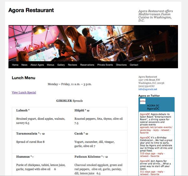 Agora Restaurant - Menu