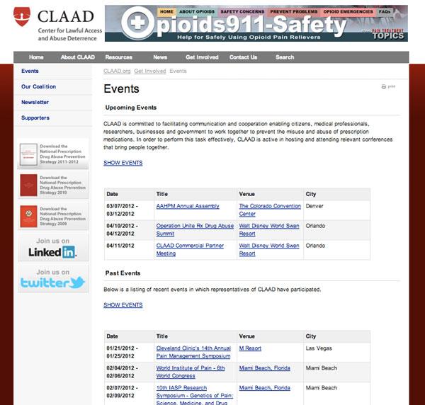 CLAAD - events page