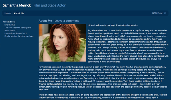 Samantha Merrick, Actor - Blog