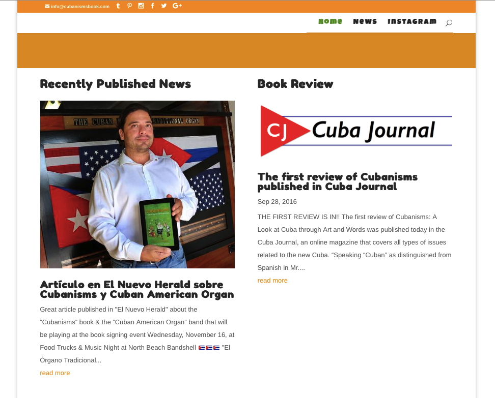 Cubanisms Book Website featuring Book Reviews and Press articles